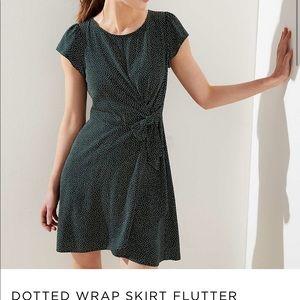LOFT Dotted Wrap Flutter Skirt Dress - Never worn